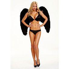 Большие крылья из натуральных перьев DARK DELIGHT  Большие крылья из натуральных перьев для настоящих соблазнительниц! Сочетай их с пышными юбочками и пэстисами, красивыми пеньюарами! Стань ангелом сегодня вечером! Или будь самой заметной на костюмированной вечеринке! Размер крыльев 80 см х 80 см.