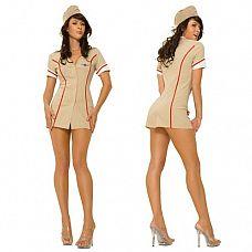 Обольстительная летчица   Короткое мини-платье бежевого цвета с красными полосками спереди и сзади, рисующими стройный силуэт фигуры.