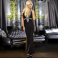 Вечернее черное платье в пол от Hustler  Роскошное вечернее платье черного цвета с эротичным вырезом-капелькой, украшенным черными блестящими камнями с огранкой.