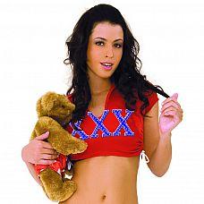 Короткий топ XXX от HUSTLER  Короткий топ из эластичного красного материала с принтом XXX на груди.