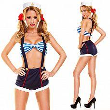 Костюм морячки из 5 предметов  Маскарадный костюм морячки состоит из пяти предметов: лиф, фуражка, шорты с подтяжками и бантики.