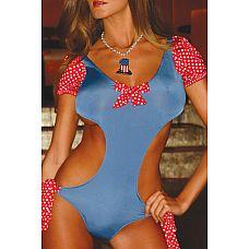 Красно-голубой купальник с открытой спиной Candy Dream  Яркое голубое боди в стиле Pin-Up - яркие детали красного цвета в белый горошек просто изумительно подчеркивают небесный голубой цвет основного полотна боди.