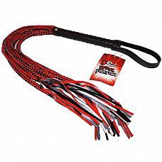 Плеть с глянцевыми шнурами 15 Tails Whip - 60 см.  Эффектная плетка с 15 шнурами красно-черного плетения.