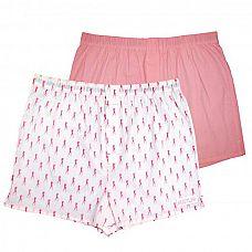 Комплект из 2 мужских трусов-шортов: розовые и белые с мелким рисунком  Мужские трусы-шорты из хлопка с добавлением спандекса - однотонного розового цвета и белого цвета с принтом танцовщиц HUSTLER.