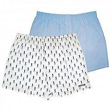 Комплект из 2 мужских трусов-шортов: голубые и белые с мелким рисунком  Мужские трусы-шорты из хлопка с добавлением спандекса - однотонного голубого цвета и белого цвета с принтом танцовщиц HUSTLER.