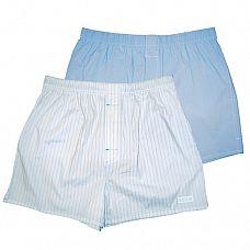 Комплект из 2 мужских трусов-шортов:  голубых и белых в полоску  Мужские трусы-шорты из хлопка с добавлением спандекса с лого HUSTLER.