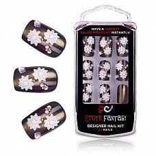 Бронзовые акриловые типсы с цветами и кристаллами Bronze Beauty  Роскошные типсы из акрила для идеального маникюра.