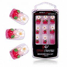 Акриловые типсы для маникюра с клубничками Californian Strawberry  Дизайнерский комплект акриловых типсов с декором из объемных спелых калифорнийских клубничек и белых цветков на восьми из 24 накладных ногтей.