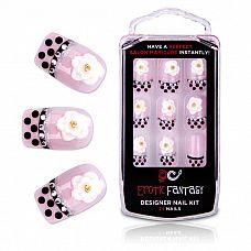 Типсы для ногтей из акрила Black Dots   Crystal  Розовые акриловые типсы для ногтей с оригинальным маникюром.