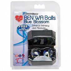 Вагинальные шарики-тренажеры Ben Wa Blue Blossom - 2.5 см.  Хотите удивить свою любимую женщину? Сделать красивый и полезный подарок? Стеклянные шарики с изящными голубыми лобелиями для тренировки вагинальных мышц.