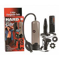 Набор для мужчин Hard Mans Tool Kit: вакуумная помпа, анальная пробка, эрекционные кольца и виброяичко  Все для настоящего мужского удовольствия! Классическая вакуумная помпа, которая легка в обращении.
