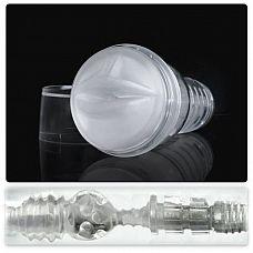 Прозрачный мастурбатор-ротик Fleshlight - Ice Mouth Crystal  Мастурбатор-анус для мужчин в прозрачном кейсе с полупрозрачной белой вставкой.