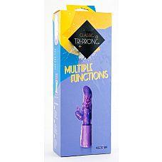 Фиолетовый вибратор с клиторальным стимулятором - 17 см.  Вибратор с клиторальным стимулятором, 7 режимов вибрации, фиолетовый.