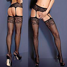 Сетчатые чулочки с поясом Garter Stockings  Чулочки в мелкую сетку с широкой резинкой и поясом с цветочным рисунком.