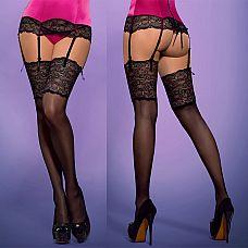 Чулочки с широким кружевом Roseberry Stockings  Красивые чулки с широким, черным кружевом! Кружево с цветочным мотивом добавляет очарование этой модели.