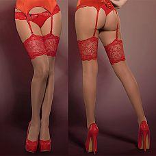 Чулки с широким кружевом Secred Stockings  Красивые чулки телесного цвета с широкой полосой красного кружева! Цветочный мотив на кружеве придает очарования этим чулочкам.