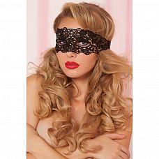Маска на глаза из черных кружев  Красивая мягкая маска на глаза из ажурного плетения нитей черного цвета.