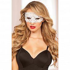 Маска на глаза из белых кружев  Красивая мягкая маска на глаза из ажурного плетения нитей белого цвета.