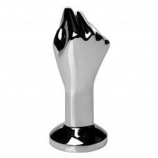 Анальный стимулятор в виде сомкнутой руки Masters The Commander Mini Fist Plug - 8.8 см.  Увесистая гладкая анальная пробка из прохладного металла.