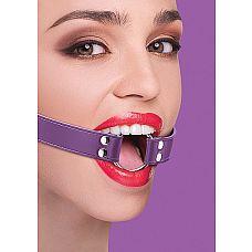 Кляп-расширитель на кожаных фиолетовых ремешках  Фетиш-аксессуар, который поможет вам вкусить такие эмоции, как подчинение, принуждение.