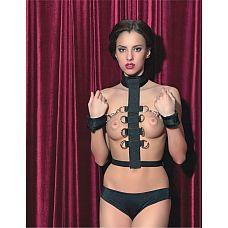 Чёрный нейлоновый бондаж с 8 кольцами  Нейлоновый бондаж поможет создать несколько вариантов ограничения свободы вашего партнера: его можно застегнуть как на груди, так и на спине.