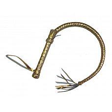 Золотистая плетка с рукояткой - 90 см.  Однохвостая длинная плеть имеет стандартную жесткую ручку и плетеное тело золотистого цвета.