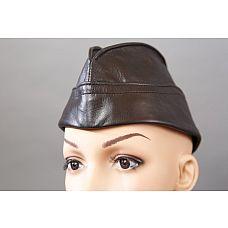 Черная кожаная пилотка  Стильная пилотка из натуральной мягкой кожи высокого качества.