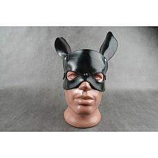 Чёрная кожаная маска на верхнюю часть лица  Е-РАБбит   Застежка - ремешок с пряжкой. Выпуклый контур в форме мордочки кролика, ушки на макушке.