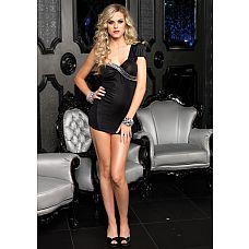 Асимметричное миниатюрное платье  Мини платье, с открытым плечом. Черного цвета, украшено камнями в области декольте. Материал 96% полиэстер, 4% спандекс. Размер L
