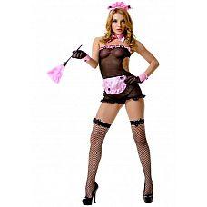 Костюм горничной секси 02900ML  Костюм состоит из головного убора  платья  накладного воротника  манжетов  перчаток  чулок в сетку