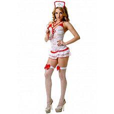 Костюм Медсестры кружевной 02893ML  Костюм состоит из:  головного убора  платья  стетоскопа  чулок в сетку