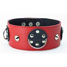 Ошейник красный-черный с шипами 55016ars  Красно-черный кожаный ошейник с короткими шипами.