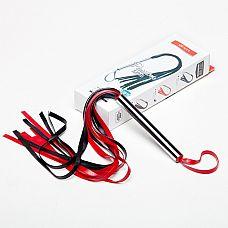 Плеть черно-красная из латекса с хвостами в виде лент длиной 40-45 см 6021-12  Плеть средняя изготовлена из натурального латекса, имеет 10-12 хвостов длиной 40-45 см.