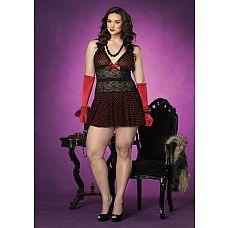 Платье с ажурными вставками  Платье с ажурными вставками в красный горошек.