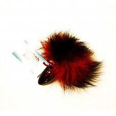 Анальная пробка с красно-черным заячьим хвостом  Анальная пробка, черного цвета с тонированным заячьим хвостом.