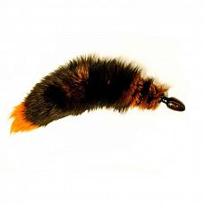 Анальная пробка с оранжевым лисьим хвостом  Черная анальная пробка с оранжевым лисьим хвостом.