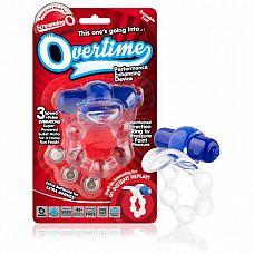 Вибро-кольцо с язычком и красным виброэлементом Overtime  Отличное кольцо с зоной стимуляции клитора, в форме язычка, сделает оргазм партнерши ярче, а рельефная форма насадки доставит удовольствие партнеру.