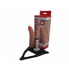Страпон системы Харнесс: трусики с плугом и реалистичная насадка - 18 см.  Насадка для страпона Harness,в комплект входят трусики.