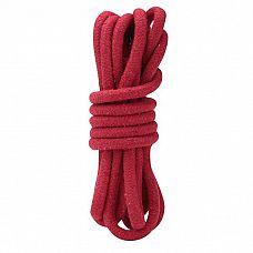 Красная хлопковая веревка для связывания - 3 м.  Красная веревка из хлопка  для связывания партнера.