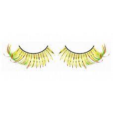 Жёлто-оранжево-зеленые завитые ресницы  Необычные и пленительные ресницы из мягких высококачественных перьев ручной обработки, выполненные в желтом, оранжевом и светло-зеленом цвете, веерообразные.