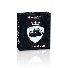 Кольца на пенис и мошонку с электростимуляцией Charming Chuck черные  Кольца на пенис и мошонку с электростимуляцией Charming Chuck - комплект широких ремней для сильного сжатия полового члена и мошонки.