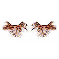 Жёлто-коричневые пушистые ресницы-перья  Поразительные ресницы из мягких высококачественных перьев ручной обработки в осенней палиtpe, пушистые, с рисунком в крапинку.