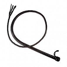 Чёрный кожаный кнут - 150 см.  Кнут имеет жёсткую рукоять и длинное тело с конусным силиконовым сердечником внутри.