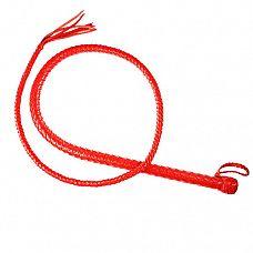 Красный кожаный кнут - 150 см.  Кнут имеет жёсткую рукоять и длинное тело с конусным силиконовым сердечником внутри.