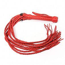 Красная кожаная плеть с 9 хвостами  Плеть имеет оплетенную кожей рукоятку, из которой выходят девять плетеных кожаных хвостов.