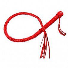 Однохвостная красная плеть - 70 см.  Однохвостая плеть имеет оплетенную жесткую рукоять и плетеное из мягкой кожи тело с сердечником из силикона.