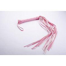 Розовая плеть-многохвостка - 65 см.  Гладкая плеть (флоггер) изготовлена из искусственной кожи.
