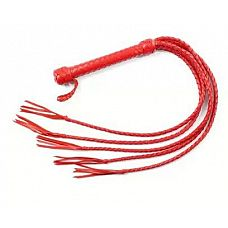 Пятихвостная красная плеть - 70 см.  Плеть имеет оплетенную кожей рукоятку, из которой выходят пять плетеных кожаных хвостов.