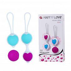 Набор из фиолетово-голубых вагинальных шариков с сердечками  Набор вагинальных шариков из силикона премиум класса с эротичным сердечком посредине и удобной петелькой для их извлечения и контроля.
