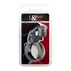 Чёрное эрекционное кольцо с клиторальным стимулятором  Силиконовая насадка. С кольцом для крепления и клиторальной стимуляцией. С орнаментом.